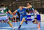 Adam Loenn (TVB Stuttgart #11) ; Nemanja Zelenovic (FRISCH AUF! Goeppingen #42) ; BGV Handball Cup 2020 Finaltag: TVB Stuttgart vs. FRISCH AUF Goeppingen am 13.09.2020 in Stuttgart (PORSCHE Arena), Baden-Wuerttemberg, Deutschland<br /> <br /> Foto © PIX-Sportfotos *** Foto ist honorarpflichtig! *** Auf Anfrage in hoeherer Qualitaet/Aufloesung. Belegexemplar erbeten. Veroeffentlichung ausschliesslich fuer journalistisch-publizistische Zwecke. For editorial use only.