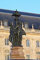 Place de la Bourse. Three Graces fountain. Bordeaux city, Aquitaine, Gironde, France