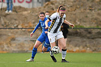 Lorene Martin (6) of KRC Genk and Noemie Fourdin (22) of Sporting Charleroi in action during a female soccer game between Sporting Charleroi and KRC Genk on the 4 th matchday in play off 2 of the 2020 - 2021 season of Belgian Scooore Womens Super League , friday 30 th of April 2021  in Marcinelle , Belgium . PHOTO SPORTPIX.BE | SPP | Jill Delsaux