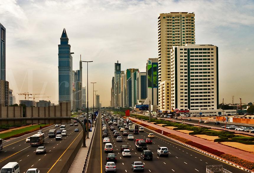 .Dubai. United Arab Emirates.  Heavy traffic on the Sheikh Zayed Road/Abu Dhabi Road..