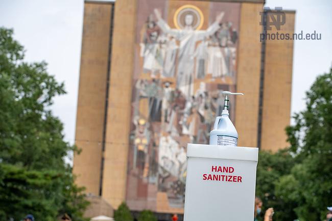 September 12, 2020; A hand sanitizer dispenser on Library Quad before the season-opening football game. (Photo by Matt Cashore/University of Notre Dame)