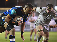 19th February 2021; Recreation Ground, Bath, Somerset, England; English Premiership Rugby, Bath versus Gloucester; Taulupe Faletau of Bath drives for the try line under pressure from Lewis Ludlow of Gloucester