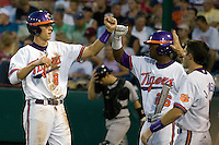 Clemson's Richie Shaffer scores in Game 12 of the NCAA Division One Men's College World Series on June 25th, 2010 at Johnny Rosenblatt Stadium in Omaha, Nebraska.  (Photo by Andrew Woolley / Four Seam Images)
