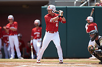 Brett Kinneman (6) of the North Carolina State Wolfpack at bat against the Army Black Knights at Doak Field at Dail Park on June 3, 2018 in Raleigh, North Carolina. The Wolfpack defeated the Black Knights 11-1. (Brian Westerholt/Four Seam Images)