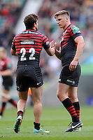 Owen Farrell and Tim Streather of Saracens after the final whistle of the Heineken Cup semi-final match between Saracens and ASM Clermont Auvergne at Twickenham Stadium on Saturday 26th April 2014 (Photo by Rob Munro)