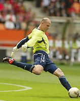 Goalkeeper Brad Friedel kicks the ball. The USA tied South Korea, 1-1, during the FIFA World Cup 2002 in Daegu, Korea.