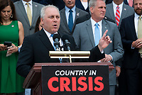 United States House Minority Whip Steve Scalise (Republican of Louisiana) offers remarks on President Joe Biden and House Speaker Nancy Pelosi's leadership during a press conference outside of the US Capitol in Washington, DC, Thursday, July 29, 2021. Credit: Rod Lamkey / CNP / MediaPunch