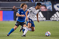 SAN JOSE, CA - MAY 01: Tommy Thompson #22 of the San Jose Earthquakes chases Andy Najar #14 of DC United during a game between San Jose Earthquakes and D.C. United at PayPal Park on May 01, 2021 in San Jose, California.