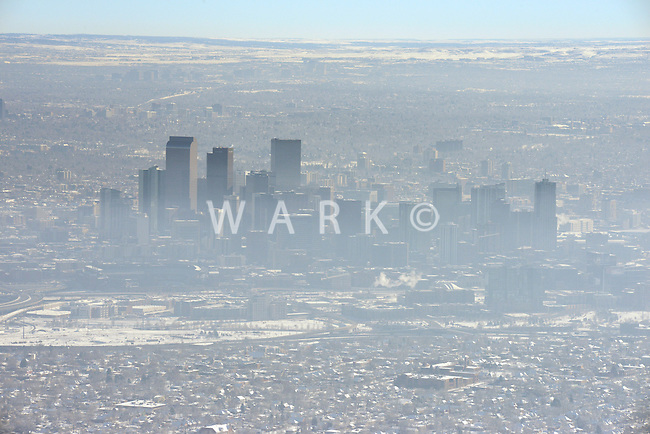 Winter inversion Denver Colorado skyline. Jan 2014