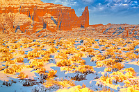 Heavy snow at Fisher Towers, Utah Near Coloraod River, Moab