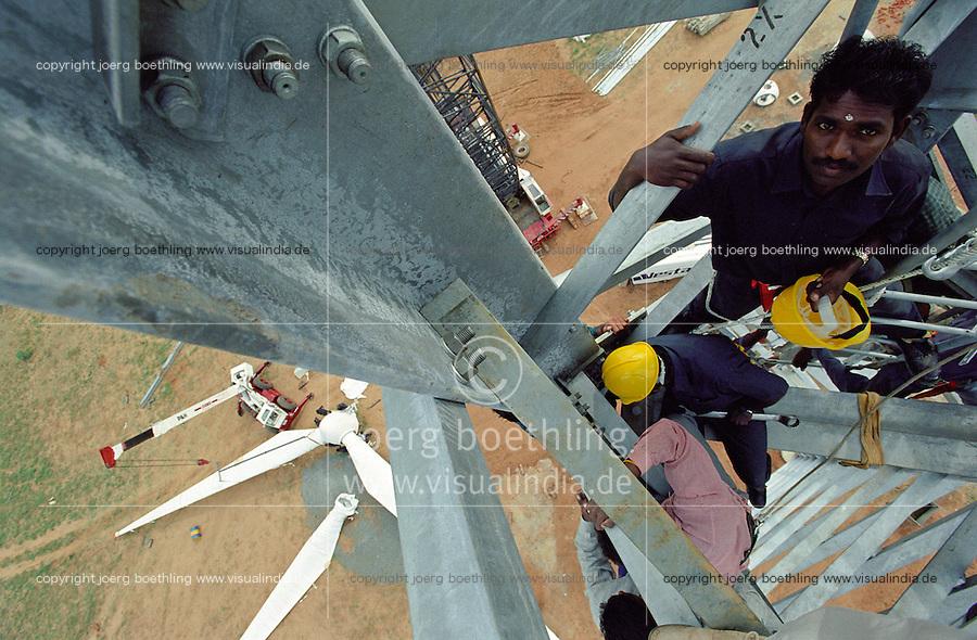 INDIA Tamil Nadu Muppandal ,.construction of steel lattice tower and Vestas RBB wind turbine in windfarm at Cape Comorin   INDIEN Tamil Nadu Muppandal , Aufbau von Gittermast Tuermen und Windkraftanlagen der Firma Vestas RBB , ein daenisch indisches joint venture , im Windpark am Kap Comorin
