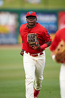 Clearwater Threshers left fielder Cornelius Randolph (2) jogs back to the dugout during a game against the Palm Beach Cardinals on April 15, 2017 at Spectrum Field in Clearwater, Florida.  Clearwater defeated Palm Beach 2-1.  (Mike Janes/Four Seam Images)