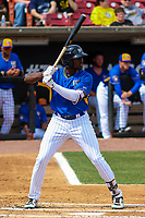 Wisconsin Timber Rattlers outfielder Demi Orimoloye (6) at bat during a Midwest League game against the Quad Cities River Bandits on April 9, 2017 at Fox Cities Stadium in Appleton, Wisconsin.  Quad Cities defeated Wisconsin 17-11. (Brad Krause/Four Seam Images)