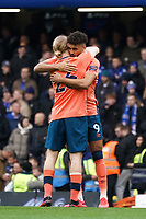 Everton's Dominic Calvert-Lewin embraces teammate Tom Davies prey to kick off<br /> <br /> Photographer Stephanie Meek/CameraSport<br /> <br /> The Premier League - Chelsea v Everton - Sunday 8th March 2020 - Stamford Bridge - London<br /> <br /> World Copyright © 2020 CameraSport. All rights reserved. 43 Linden Ave. Countesthorpe. Leicester. England. LE8 5PG - Tel: +44 (0) 116 277 4147 - admin@camerasport.com - www.camerasport.com