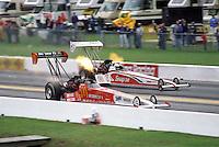 Oct. 26, 1997; Baytown, TX, USA; NHRA top fuel dragster driver Cory McClenathan (near) races Doug Herbert during the Matco Tools Supernationals at Houston Raceway Park. Mandatory Credit: Mark J. Rebilas-