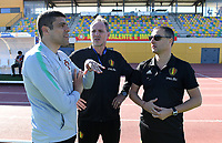 20200307  Parchal , Portugal : Portugese head coach Francisco Neto pictured with Belgian assistant coach Kris Van Der Haegen and Belgian head coach Ives Serneels during the female football game between the national teams of Belgium called the Red Flames and Portugal on the second matchday of the Algarve Cup 2020 , a prestigious friendly womensoccer tournament in Portugal , on saturday 7 th March 2020 in Parchal , Portugal . PHOTO SPORTPIX.BE | DAVID CATRY