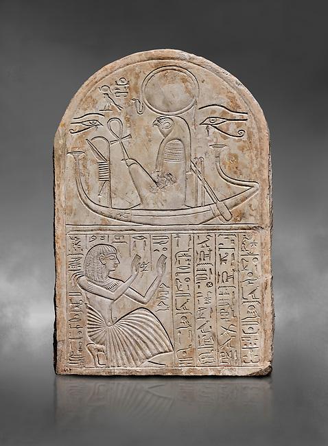 Ancient Egyptian stele dedicated to Re-Harakhty by draftsman Pay, limestone, New Kingdom, 19th Dynasty, (1292-1190 BC), Deir el-Medina, Schiaprelli cat 6144. Egyptian Museum, Turin. Grey background