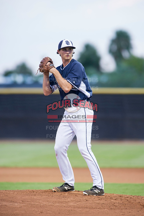 AZL Padres starting pitcher Sam Keating (47) prepares to deliver a pitch to the plate against the AZL Indians at the San Diego Padres Spring Training Complex in Peoria, Arizona. AZL Padres defeated the AZL Indians 7-4. (Zachary Lucy/Four Seam Images)