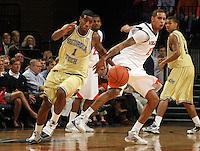 Georgia Tech's Iman Shumpert(1), left, steals the ball Virginia's Sylven Landesberg, right, during an NCAA college basketball game Wednesday Jan. 13, 2010 in Charlottesville, Va.  (Photo/Andrew Shurtleff)