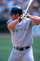 OAKLAND, CA - Jason Giambi of the New York Yankees bats during a game against the Oakland Athletics at the Oakland Coliseum in Oakland, California in 2002. Photo by Brad Mangin