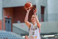 Ann Wauters (12) of Belgium pictured during a basketball game between the national teams of Belgium , called the Belgian Cats , and Serbia on Friday 28 th of May 2021 in Kortrijk , Belgium . PHOTO SPORTPIX.BE   SPP   STIJN AUDOOREN