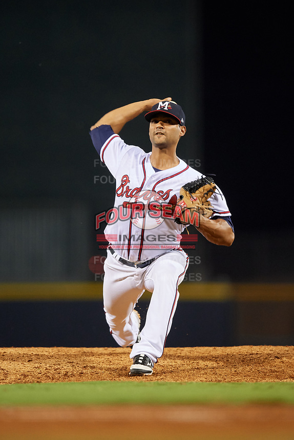 Mississippi Braves relief pitcher Elian Leyva (36) delivers a pitch during a game against the Mobile BayBears on May 7, 2018 at Trustmark park in Pearl, Mississippi.  Mobile defeated Mississippi 5-0.  (Mike Janes/Four Seam Images)