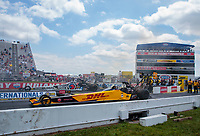 Jul 18, 2020; Clermont, Indiana, USA; NHRA top fuel driver Shawn Langdon (near) races alongside Antron Brown during qualifying for the Summernationals at Lucas Oil Raceway. Mandatory Credit: Mark J. Rebilas-USA TODAY Sports