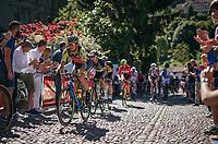 Filippo 'Pipo' Pozzato (ITA/Wilier Triestina-Selle Italia) over the 'cobbles' up the final climb towards the Città Alta in Bergamo<br /> <br /> Stage 15: Valdengo › Bergamo (199km)<br /> 100th Giro d'Italia 2017