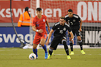 EAST RUTHERFORD, NJ - SEPTEMBER 7: Alfredo Morales #15 of the United States battles for the ball with Hector Herrera #16 of Mexico during a game between Mexico and USMNT at MetLife Stadium on September 6, 2019 in East Rutherford, New Jersey.