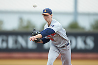Illinois Fighting Illini starting pitcher Andy Fisher (38) delivers a pitch to the plate against the Wake Forest Demon Deacons at David F. Couch Ballpark on February 16, 2019 in  Winston-Salem, North Carolina.  The Fighting Illini defeated the Demon Deacons 5-2. (Brian Westerholt/Four Seam Images)