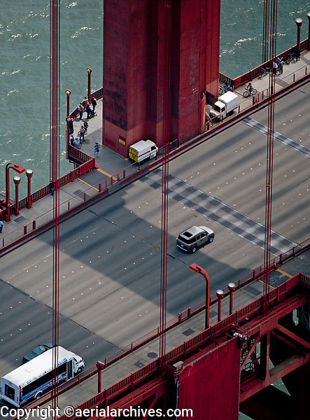 aerial photograph of the cables at one of the towers of the Golden Gate bridge, San Francisco, California