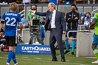 SAN JOSE, CA - MAY 12: Brian Schmetzer  Head Coach of the Seattle Sounders directs his team during a game between San Jose Earthquakes and Seattle Sounders FC at PayPal Park on May 12, 2021 in San Jose, California.