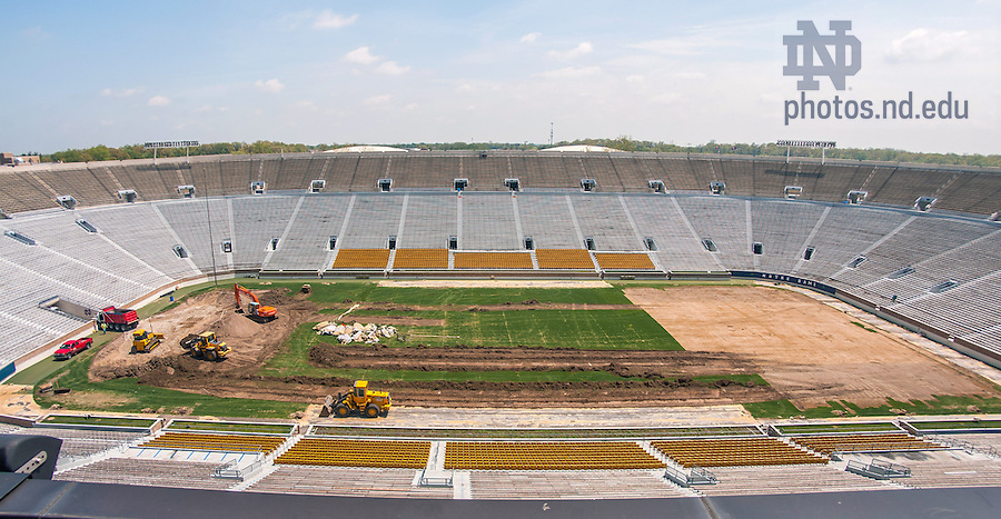 May 21, 2014; Conversion from natural grass to field turf in Notre Dame Stadium, summer 2014.<br /> <br /> Photo by Matt Cashore/University of Notre Dame