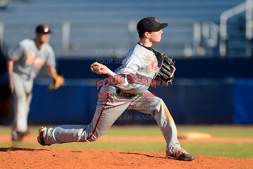 University of Missouri - St Louis Tritons pitcher Kyle Renaud #11 during a game against the Wayne State Wildcats at Chain of Lakes Stadium on March 8, 2013 in Winter Haven, Florida.  Wayne State defeated UMSL 3-2 in fourteen innings.  (Mike Janes/Four Seam Images)