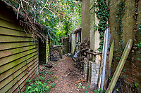 BNPS.co.uk (01202 558833)<br /> Pic: MaxWillcock/BNPS<br /> <br /> Pictured: The side of the property.<br /> <br /> An abandoned cottage that is covered by undergrowth and looks like something out of a horror film has sold for a whopping £430,000.<br /> <br /> The derelict property, called Grasshopper Cottage, had a valuation of £275,000 before it went up for sale at auction.<br /> <br /> But due to the current state of the property market where demand far outstrips supply, interest and bidding in the 150-year-old cottage took off.