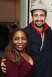 """Stephanie Mills and Lin-Manuel Miranda backstage after a Song preview performance of the Bebe Winans Broadway Bound Musical """"Born For This"""" at Feinstein's 54 Below on November 5, 2018 in New York City."""