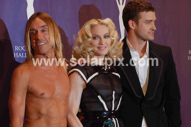 **ALL ROUND PICTURES FROM SOLARPIX.COM**.**SYNDICATION RIGHTS FOR UK, SPAIN, PORTUGAL, AUSTRALIA, S.AFRICA & DUBAI (U.A.E) ONLY**.The 2008 Rock and Roll Hall of Fame Induction Ceremony at the Waldorf-Astoria Hotel, Chicago,IL, USA. 10th March 2008..This pic: Iggy Pop, Madonna and Justin Timberlake..JOB REF: 5922 PHZ    DATE: 10_03_2008.**MUST CREDIT SOLARPIX.COM OR DOUBLE FEE WILL BE CHARGED* *UNDER NO CIRCUMSTANCES IS THIS IMAGE TO BE REPRODUCED FOR ANY ONLINE EDITION WITHOUT PRIOR PERMISSION*