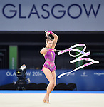 Wales Frankie Jones during her routine<br /> <br /> Photographer Ian Cook/Sportingwales<br /> <br /> 20th Commonwealth Games - Day 1 - Thursday 24th July 2014 - Team Final Ribbon - Gymnastics  - SEEC Hydro -  Glasgow - UK