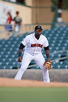 Jupiter Hammerheads first baseman Lazaro Alonso (44) during a game against the Palm Beach Cardinals on August 4, 2018 at Roger Dean Chevrolet Stadium in Jupiter, Florida.  Palm Beach defeated Jupiter 7-6.  (Mike Janes/Four Seam Images)