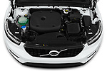 Car Stock 2021 Volvo XC40 R-Design 5 Door SUV Engine  high angle detail view