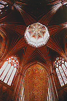 Ely Cathedral, an Anglican church in Ely, England features a central octagonal tower with lantern above, providing a unique internal space. An excellent example of decorated Gothic Architecture.