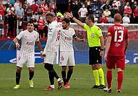 14th September 2021; Sevilla, Spain: UEFA Champions League football, Sevilla FC versus RB Salzburg; Youssef En-Nesyri of Sevilla receives a red card from the referee