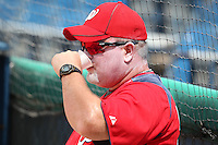 Washington Nationals coach Matt LeCroy covered in sunblock during an Instructional League game against the national team from Italy at Holman Stadium on September 29, 2011 in Vero Beach, Florida.  (Mike Janes/Four Seam Images)