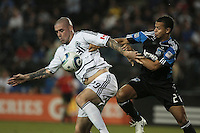 Eric Hassli (29) controls the ball ahead of Jason Hernandez (21). The San Jose Earthquakes tied the Vancouver Whitecaps 2-2 at Buck Shaw Stadium in Santa Clara, California on July 20th, 2011.