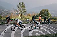 Gianni Moscon (ITA/SKY) & Patrick Konrad (AUT/Bora-Hansgrohe) up the infamous/brutal Muro di Sormano (avg 17%/max 25%)<br /> <br /> 112th Il Lombardia 2018 (ITA)<br /> from Bergamo to Como: 241km