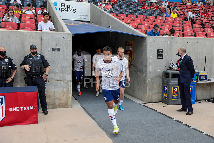 SANDY, UT - JUNE 10: Tyler Adams #4 of the United States warming up before a game between Costa Rica and USMNT at Rio Tinto Stadium on June 10, 2021 in Sandy, Utah.