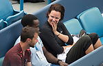 August 17,2017:   Lindsay Davenport watches as Madison Keys (USA) battles against Garbine Muguruza (ESP) before the rain delay at the Western & Southern Open being played at Lindner Family Tennis Center in Mason, Ohio.  ©Leslie Billman/Tennisclix/CSM