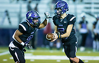 Kameron Ingram (2) of Fayetteville gets handoff from Bladen Fike (5) at Harmon Stadium, Fayetteville, Arkansas on Friday, November 13, 2020 / Special to NWA Democrat-Gazette/ David Beach