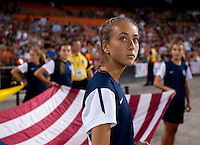 Flag bearer. The USWNT defeated Mexico, 7-0, during an international friendly at RFK Stadium in Washington, DC.  The USWNT defeated Mexico, 7-0.