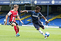 Kasaiah Sterling, Southend United clears under pressure from Archie Collins of Exeter City during Southend United vs Exeter City, Sky Bet EFL League 2 Football at Roots Hall on 10th October 2020